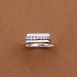 Vienna Jewelry Sterling Silver Trio-Lined Jewels Covering Petite Ring Size: 8 - Thumbnail 0