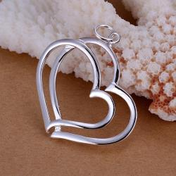 Vienna Jewelry Sterling Silver Duo-Hollow Hearts Pendant - Thumbnail 0