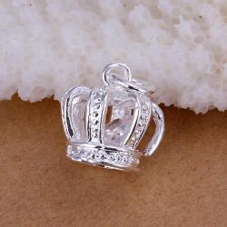 Vienna Jewelry Sterling Silver Dangling Crown Pendant - Thumbnail 0