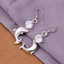 Vienna Jewelry Sterling Silver Petite Dolphin Drop Earring - Thumbnail 0