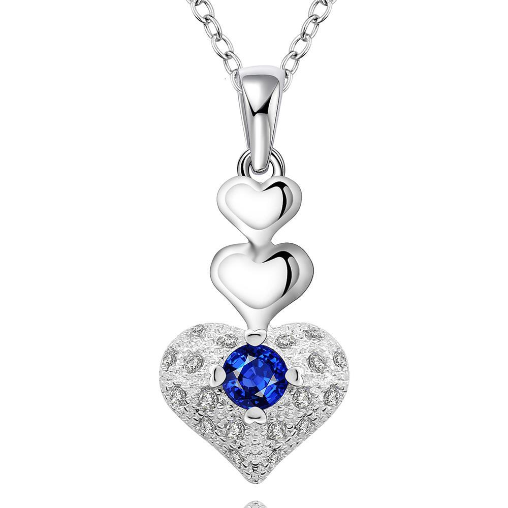 Vienna Jewelry Sterling Silver Trio-Heart Shaped Mock Sapphire Necklace