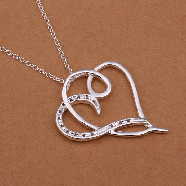 Vienna Jewelry Sterling Silver Curved Heart Drop Necklace
