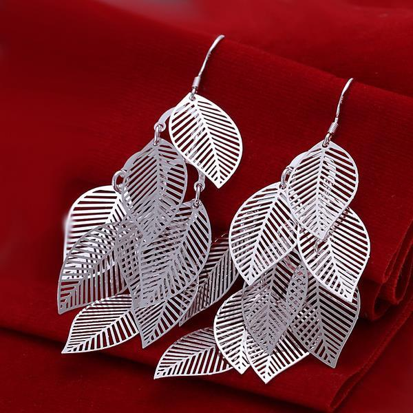 Vienna Jewelry Sterling Silver Drop Leaf Branch Earring