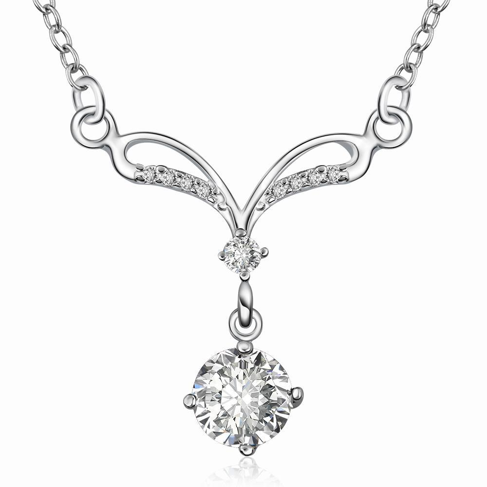 Vienna Jewelry Sterling Silver Classical Curved Crystal Necklace