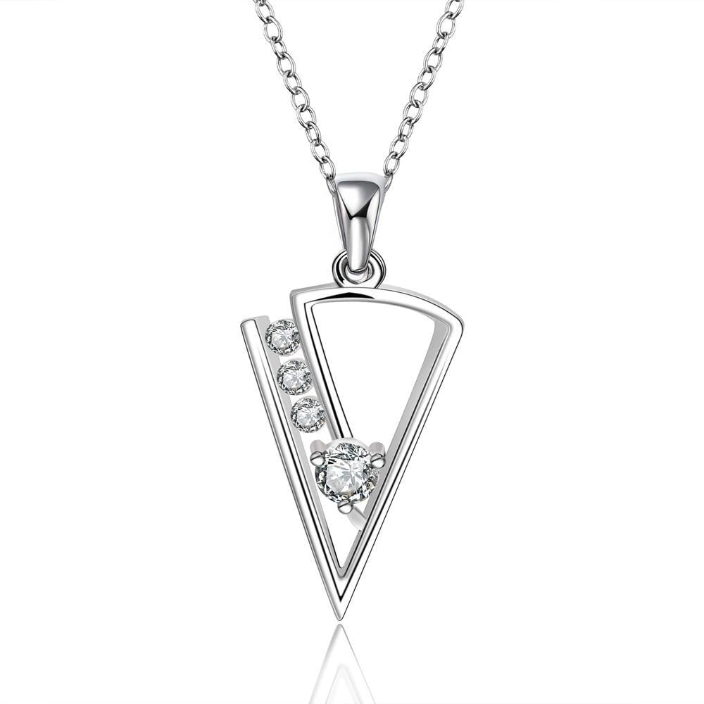 Vienna Jewelry Sterling Silver Pyramid Drop Crystal Filled Necklace