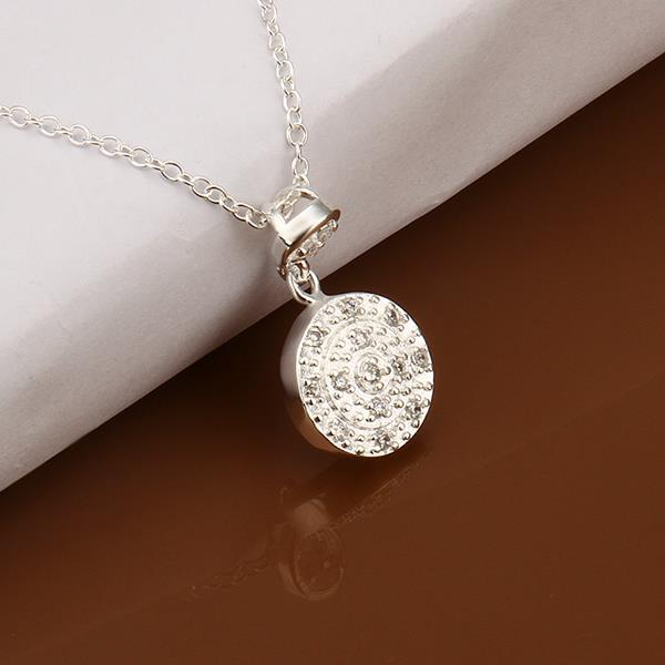 Vienna Jewelry Sterling Silver Crystal Emblem Drop Necklace