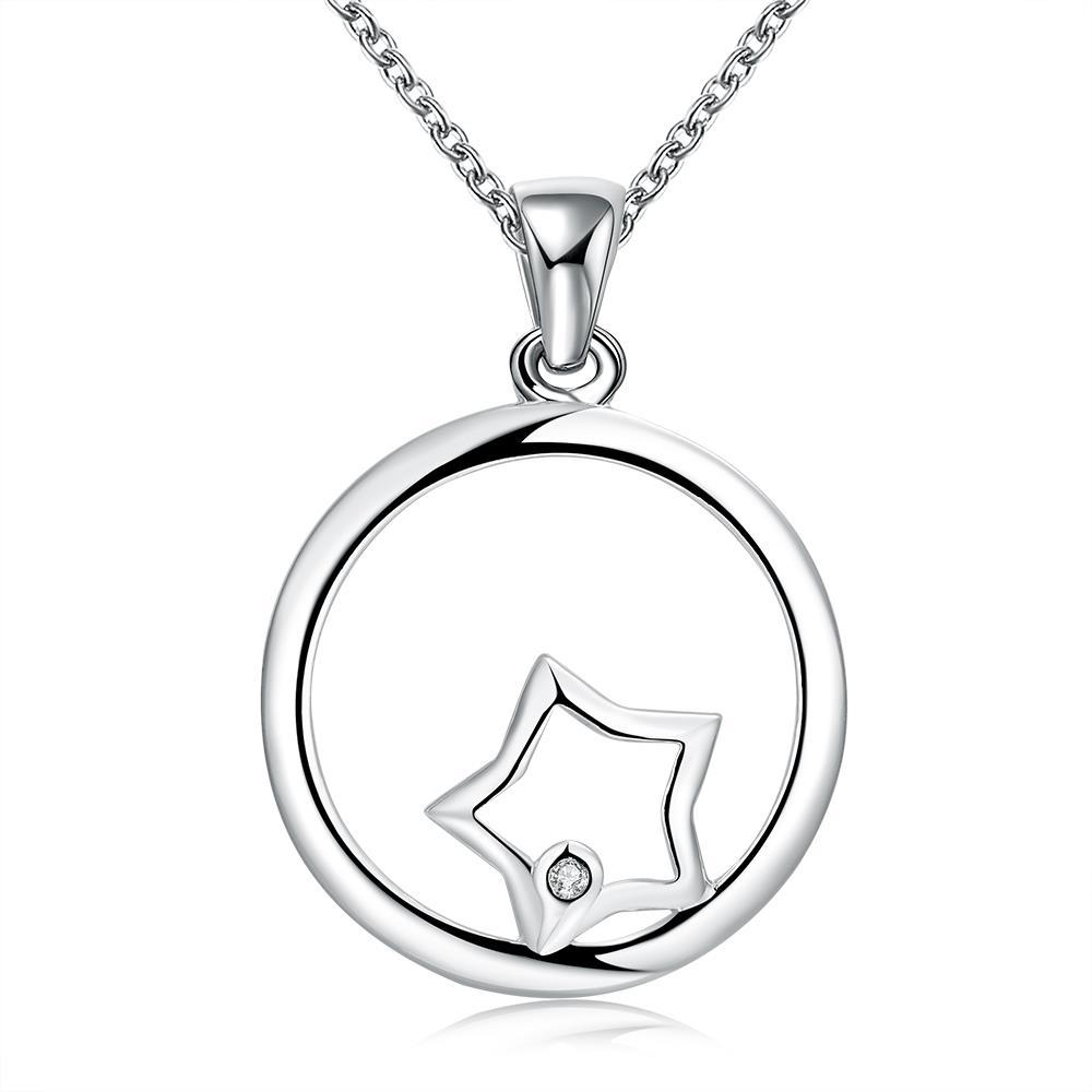 Vienna Jewelry Sterling Silver Circular Star Emblem Necklace