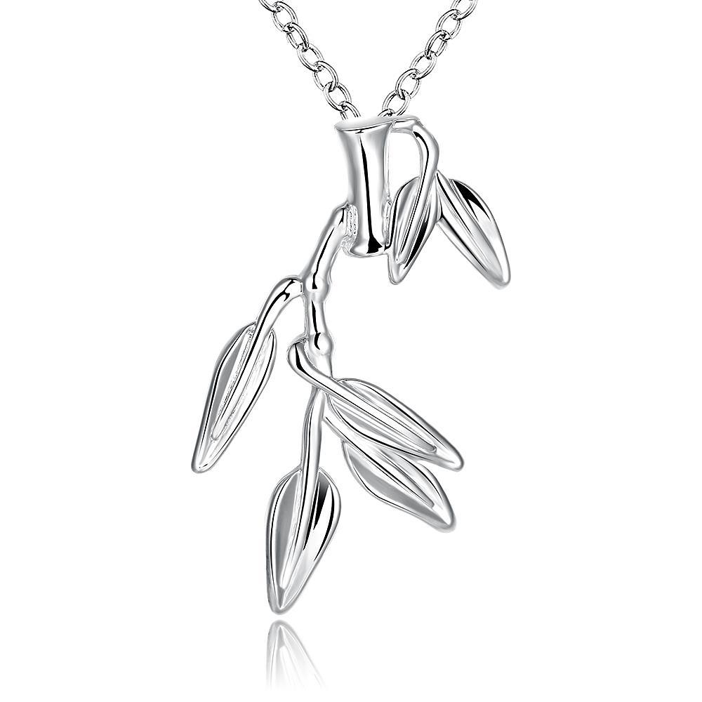 Vienna Jewelry Sterling Silver Dangling Leaf Branched Drop Necklace