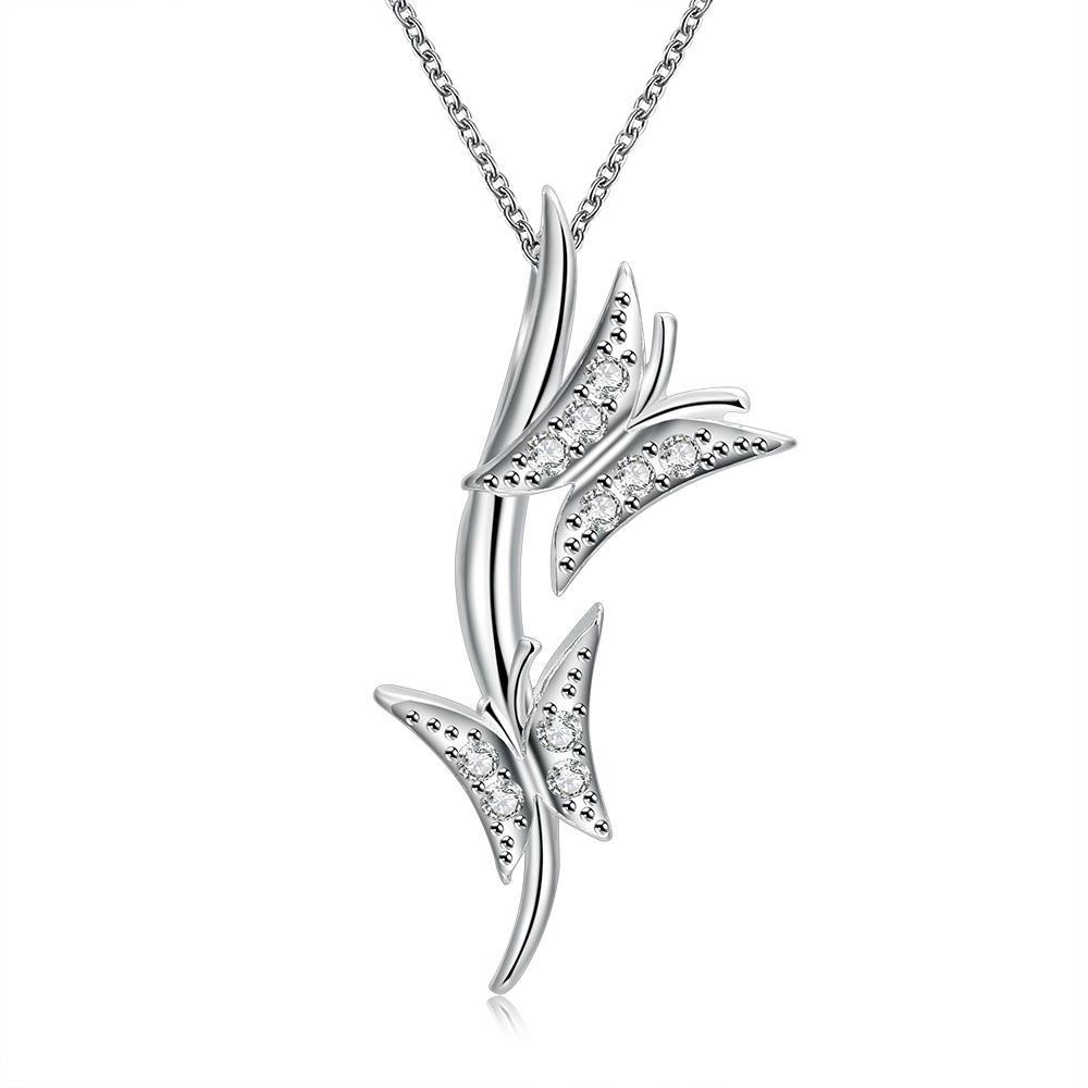 Vienna Jewelry Sterling Silver Duo-Butterfly Drop Necklace