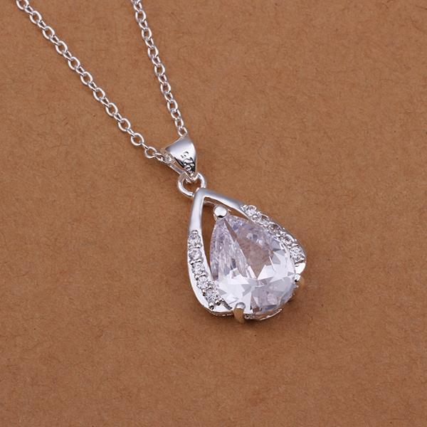 Vienna Jewelry Sterling Silver Center Crystal Classic Emblem Drop Necklace