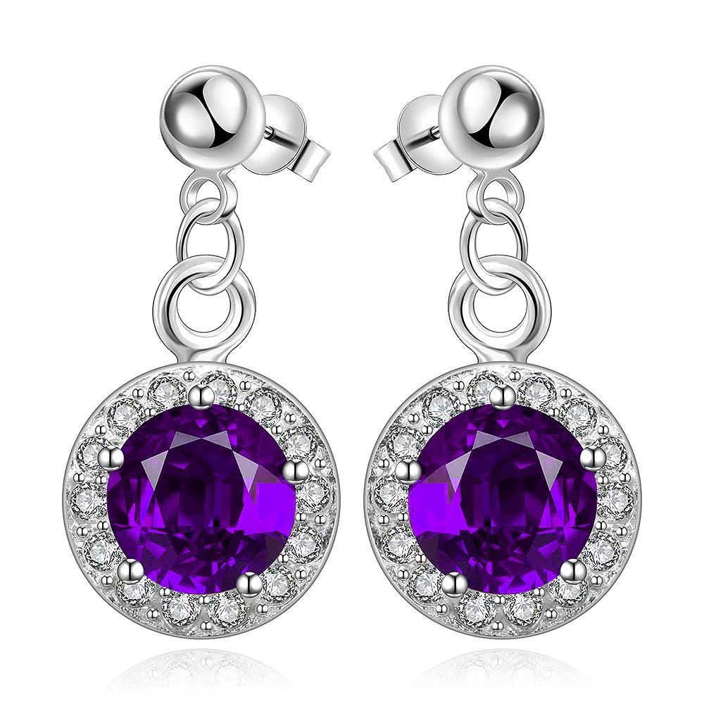 Vienna Jewelry Sterling Silver Circular Purple Citrine Pendant Drop Earring