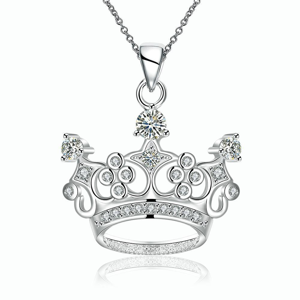 Vienna Jewelry Sterling Silver King's Crown Drop Necklace