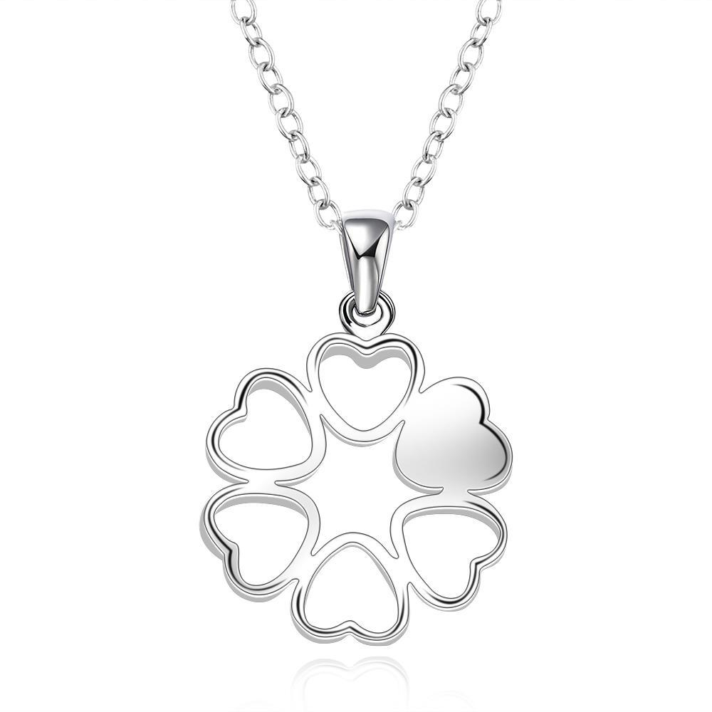 Vienna Jewelry Sterling Silver Laser Cut Heart Filled Clover Shaped Drop Necklace