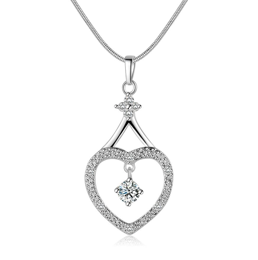Vienna Jewelry Sterling Silver Hollow Heart Classic Drop Necklace