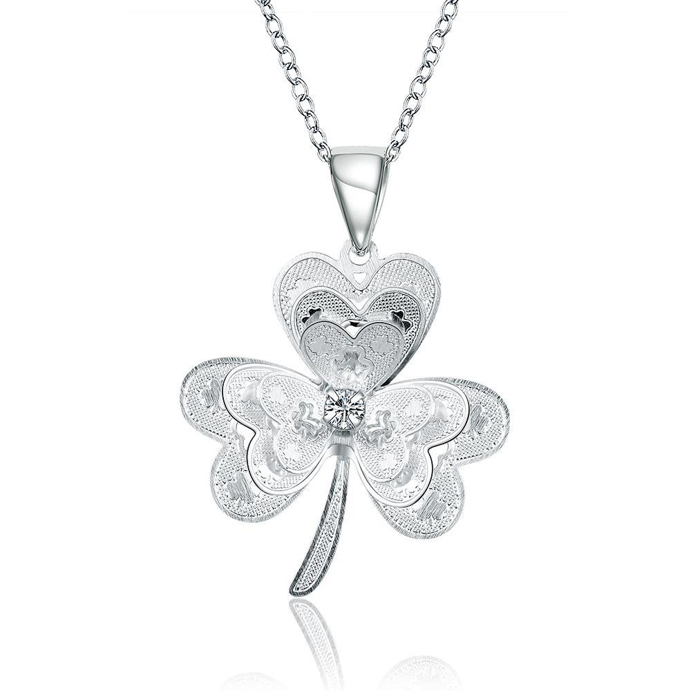 Vienna Jewelry Sterling Silver Petite Clover Stud Drop Necklace