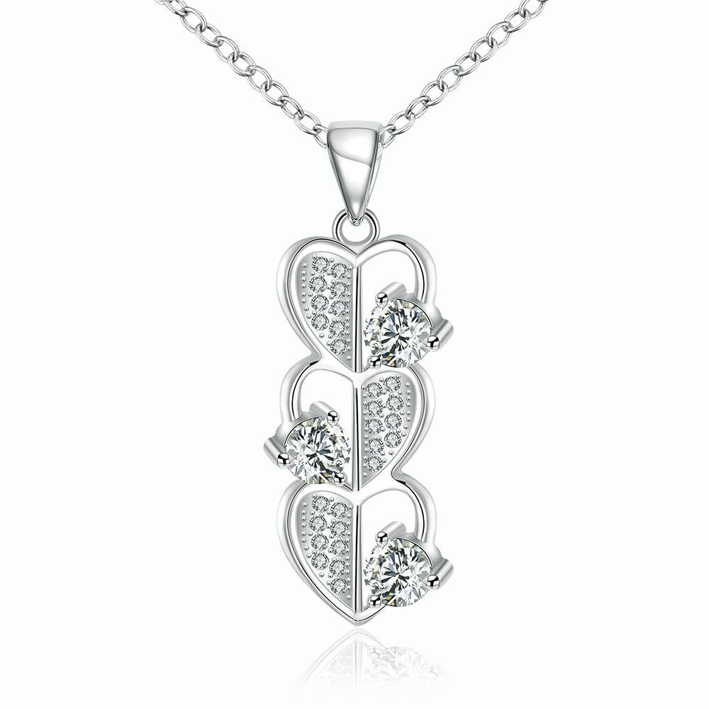 Vienna Jewelry Sterling Silver Trio-Heart Shaped Dangling Necklace