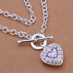 Vienna Jewelry Sterling Silver Purple Citrine Jewels Heart Emblem Necklace - Thumbnail 0