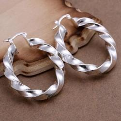 Vienna Jewelry Sterling Silver Bended Angular Hoops - Thumbnail 0