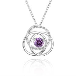 Vienna Jewelry Sterling Silver Multi Curved Purple Citrine Pendant Necklace - Thumbnail 0