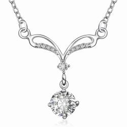 Vienna Jewelry Sterling Silver Classical Curved Crystal Necklace - Thumbnail 0