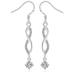 Vienna Jewelry Sterling Silver Thin Line Vertical Crystal Drop Earring - Thumbnail 0