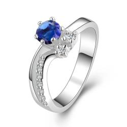 Vienna Jewelry Twin Gems Mock Sapphire Curved Petite Ring Size: 8 - Thumbnail 0