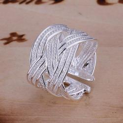 Vienna Jewelry Sterling Silver Interwoven Lined Classic Resizable Ring - Thumbnail 0
