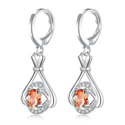Vienna Jewelry Sterling Silver Orange Citrine Drop Earring - Thumbnail 0