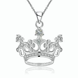 Vienna Jewelry Sterling Silver King's Crown Drop Necklace - Thumbnail 0