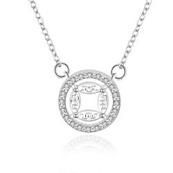 Vienna Jewelry Sterling Silver Circular Emblem Abstract Drop Necklace - Thumbnail 0
