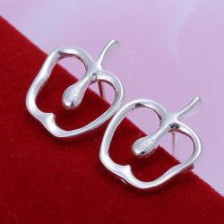 Vienna Jewelry Sterling Silver Hollow Apple Shape Earring - Thumbnail 0