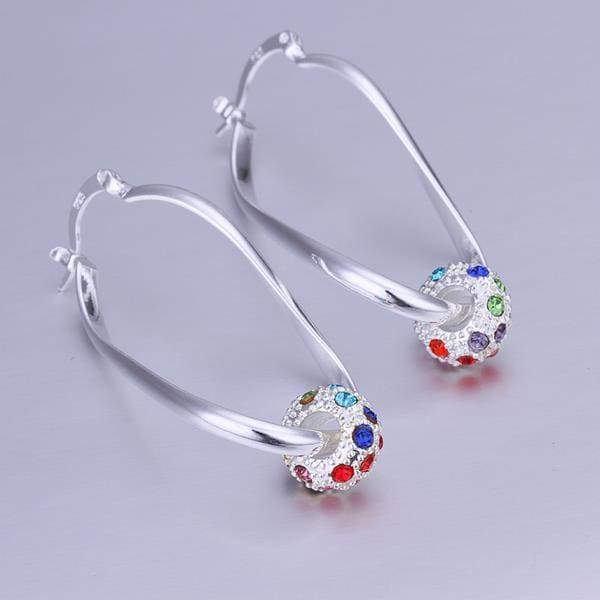 Vienna Jewelry Sterling Silver Rainbow Ball Hoop Earring