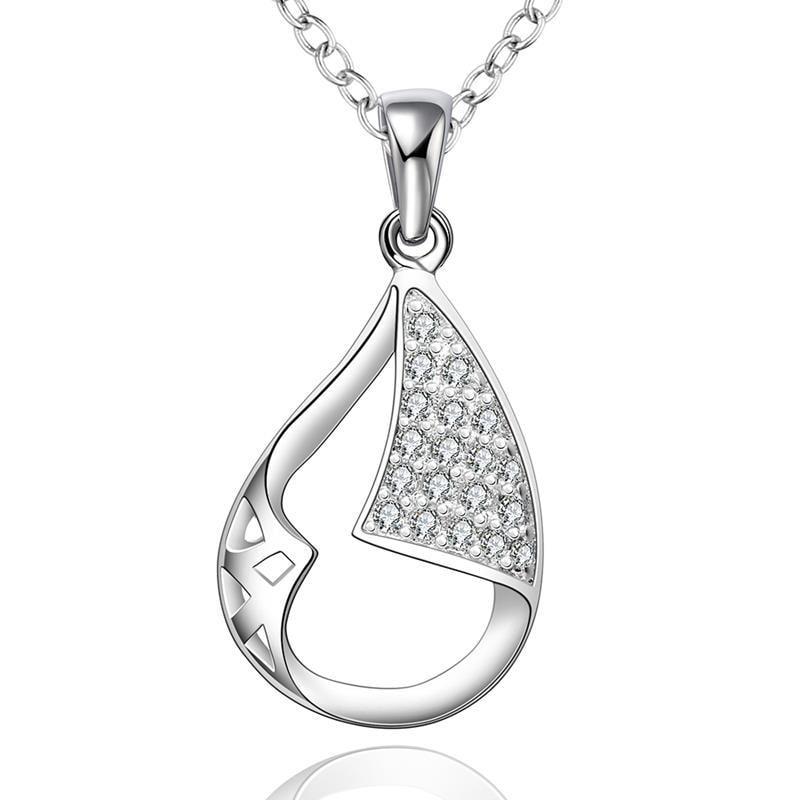 Vienna Jewelry Sterling Silver Crystal Filled Emblem Drop Necklace