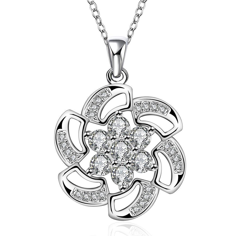 Vienna Jewelry Sterling Silver Swirl Floral Emblem Drop Necklace