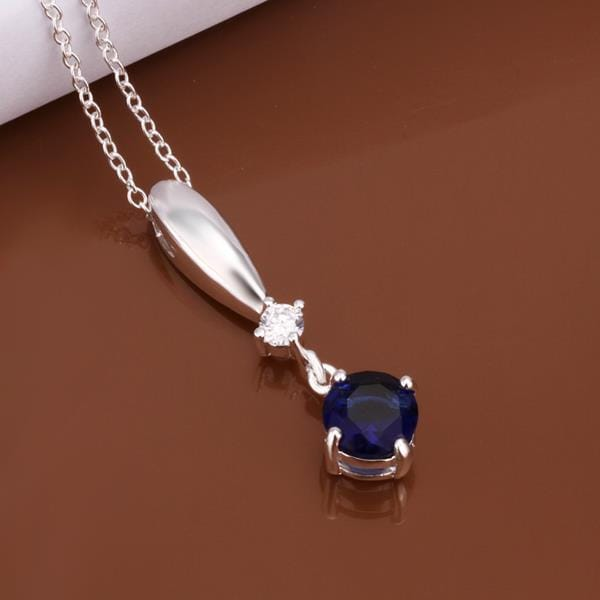 Vienna Jewelry Sterling Silver Dangling Mock Sapphire Gem Necklace