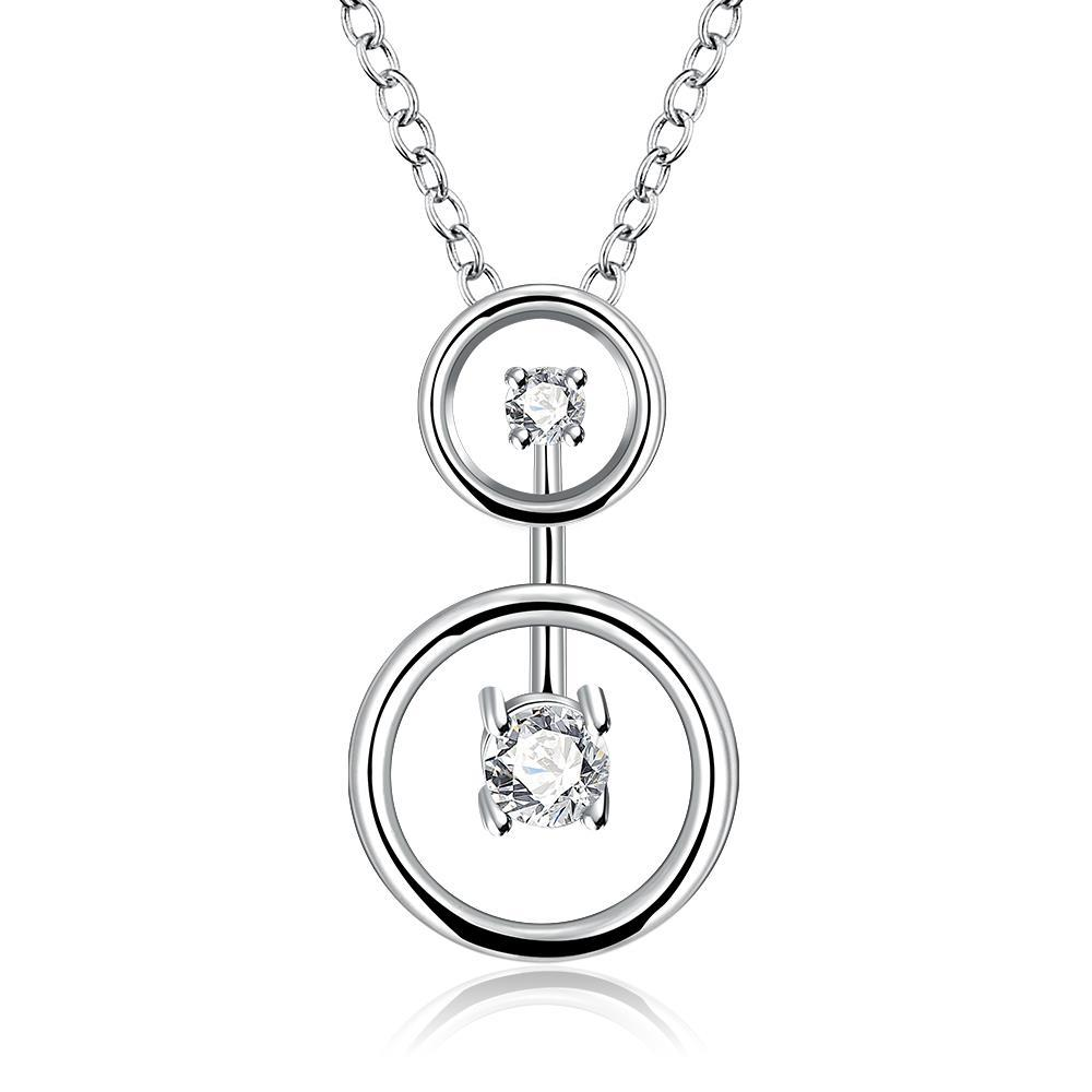 Vienna Jewelry Sterling Silver Duo-Crystal Jewels Pendant Necklace