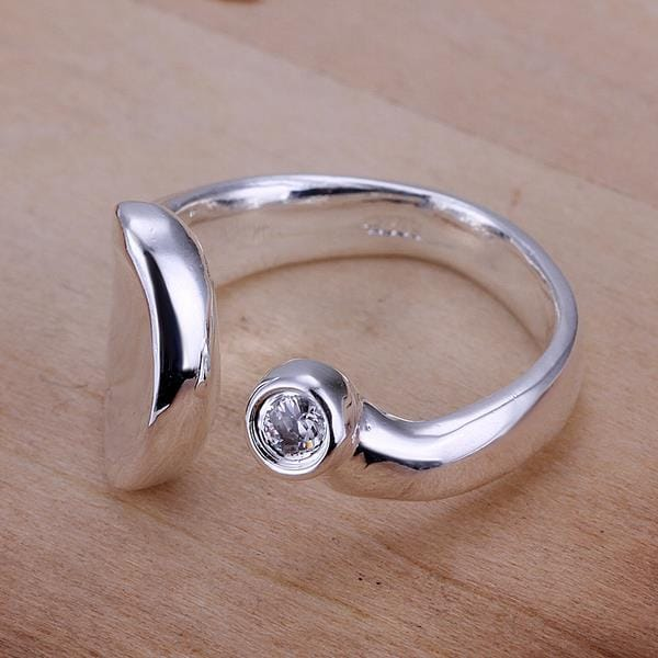 Vienna Jewelry Sterling Silver Emblem Swirl Design Petite Resizable Ring