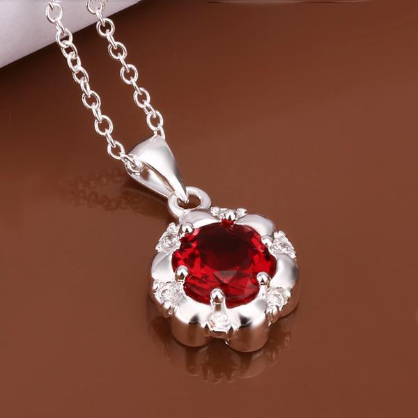 Vienna Jewelry Sterling Silver Ruby Red Gem Emblem Necklace