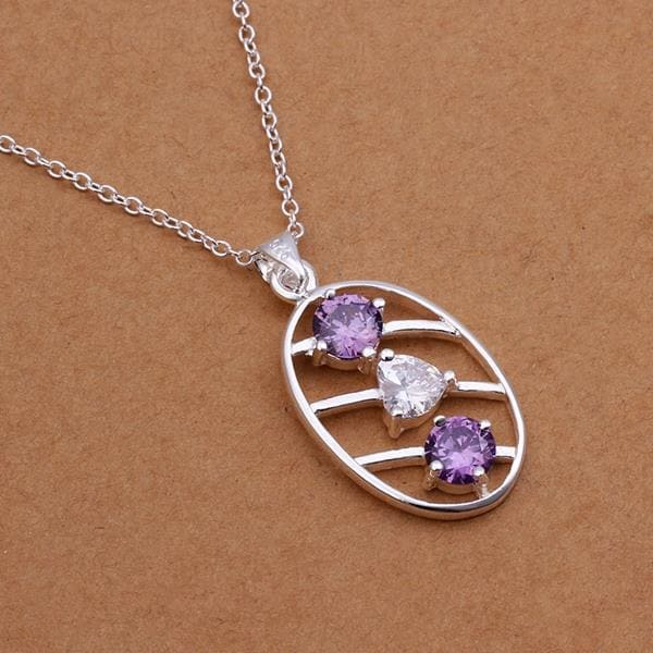 Vienna Jewelry Sterling Silver Duo-Purple Citrine Emblem Necklace
