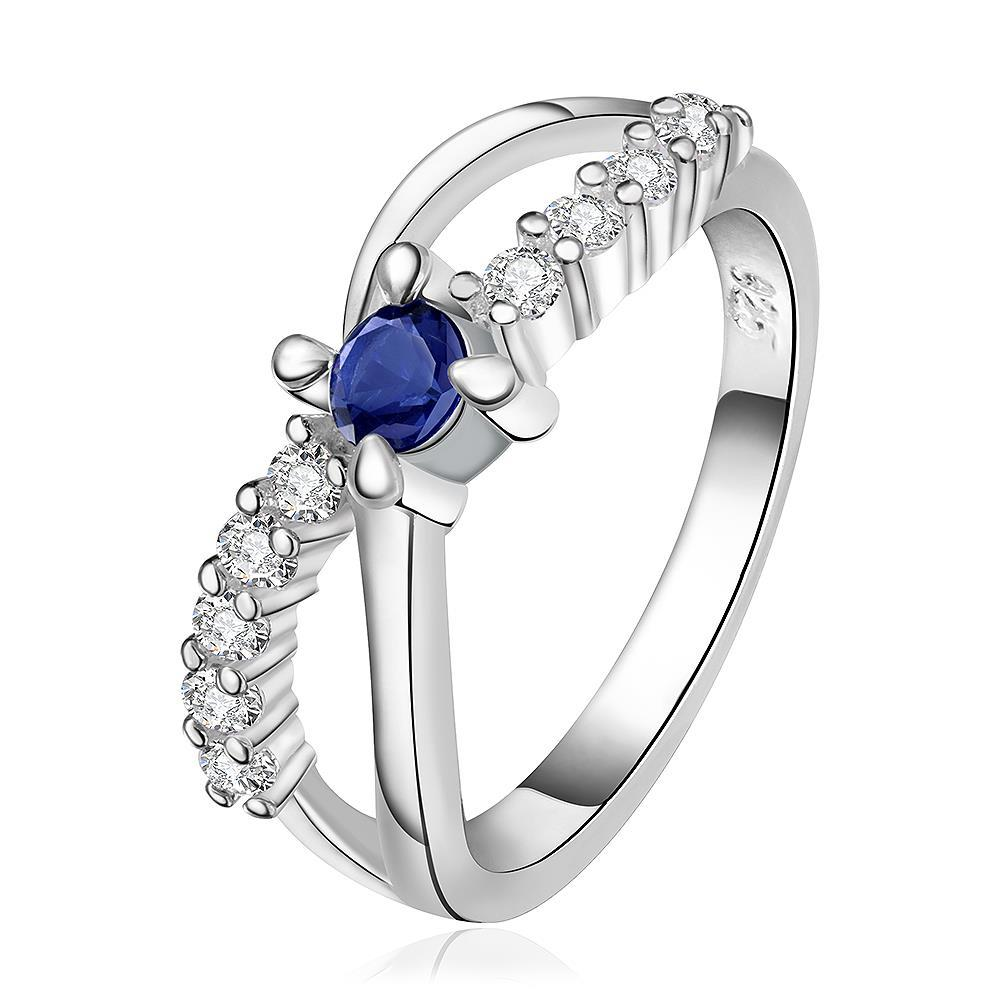 Vienna Jewelry Sterling Silver Curved Mock Sapphire Jewels Lining Ring Size: 8