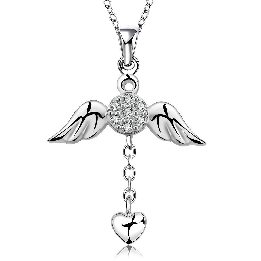 Vienna Jewelry Sterling Silver Butterfly Dangling Love Necklace