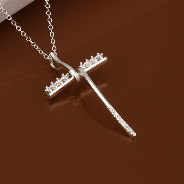 Vienna Jewelry Sterling Silver Petite Thin Cross Drop Necklace