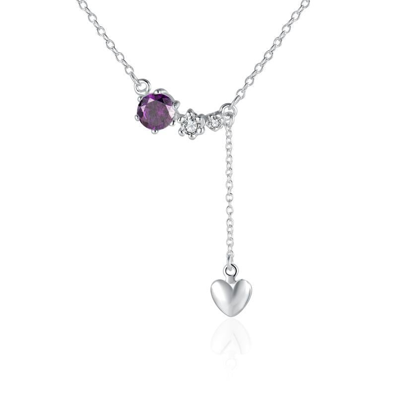 Vienna Jewelry Sterling Silver Purple Citrine Dangling Petite Heart Modern Necklace