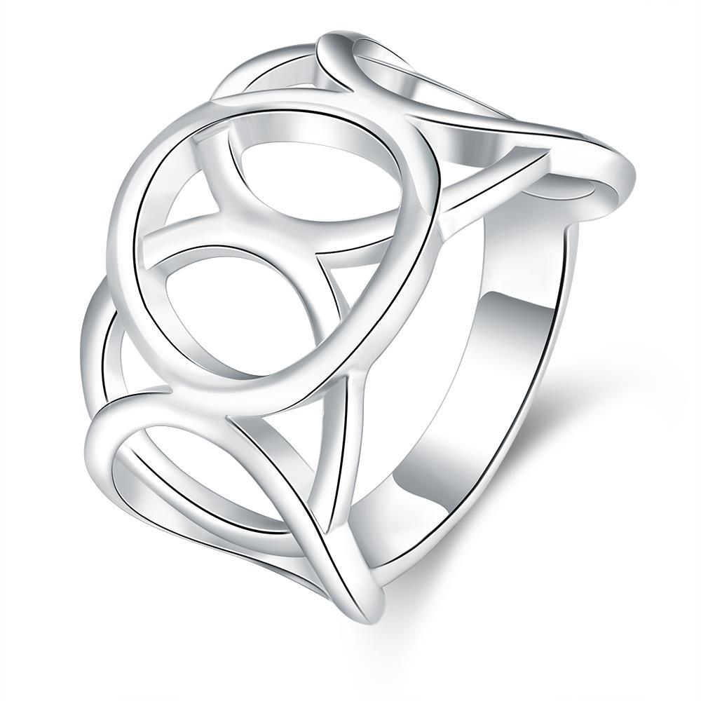 Vienna Jewelry Sterling Silver Laser Cut Hollow Circular Ring Size: 8