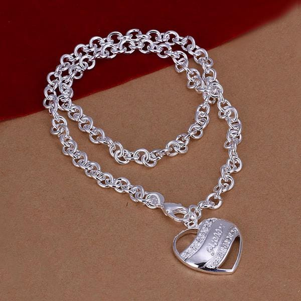 Vienna Jewelry Sterling Silver Curved Heart Emblem Drop Necklace