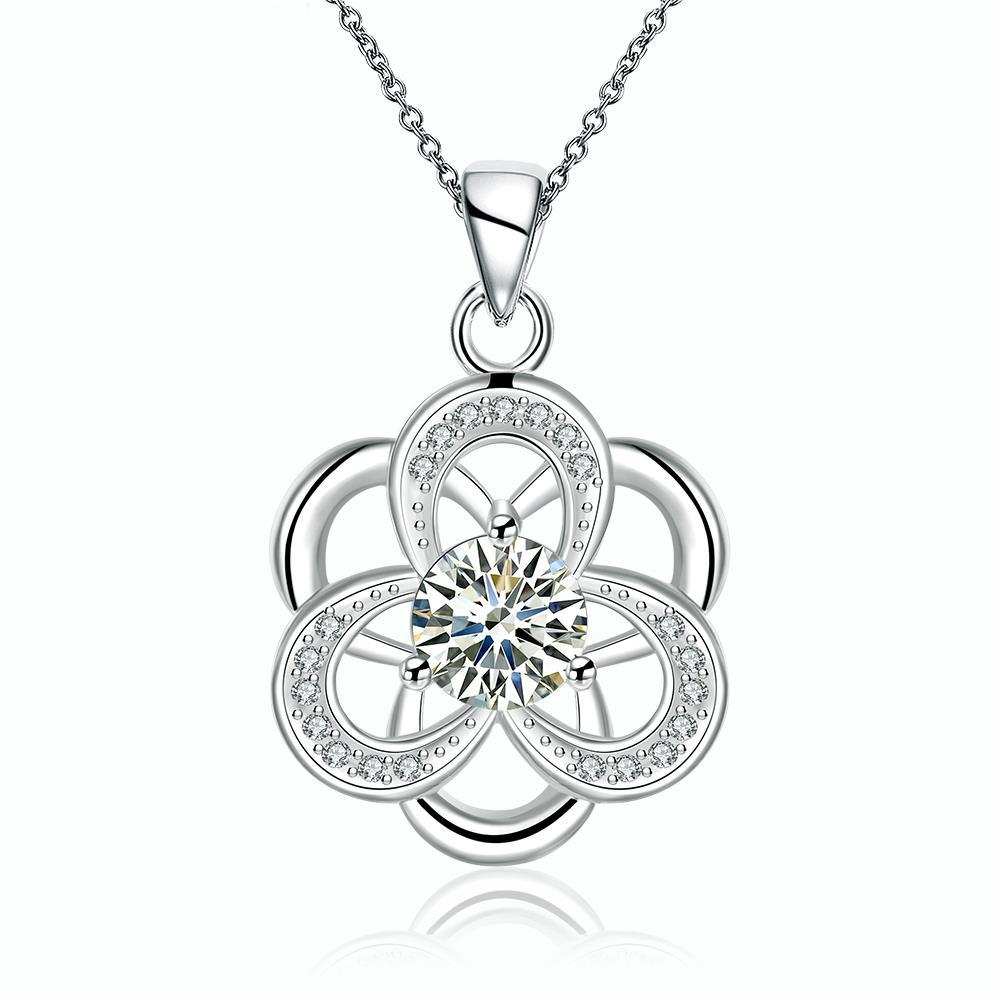 Vienna Jewelry Sterling Silver Abstract Curved Snowflake Drop Necklace