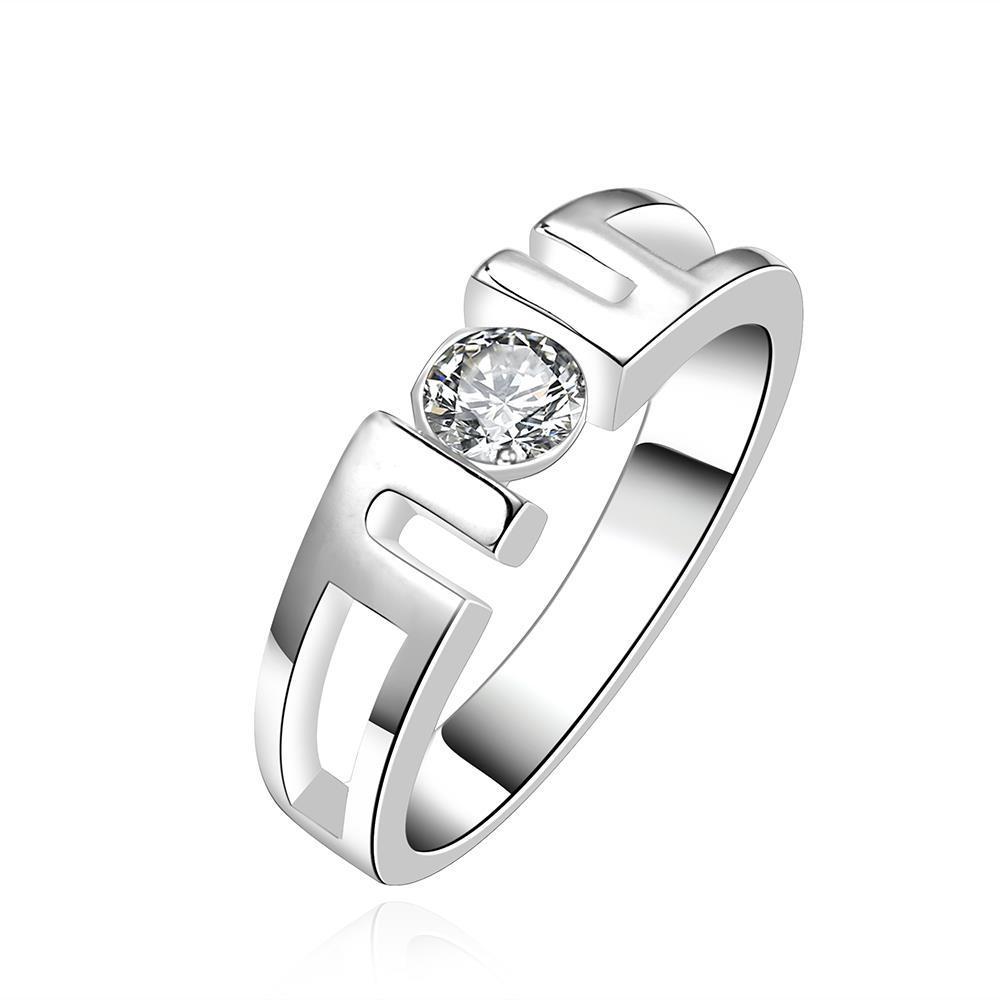Vienna Jewelry Sterling Silver Laser Cut Interlocked Ring Size: 8