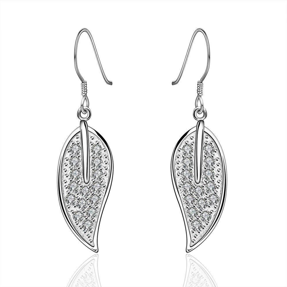 Vienna Jewelry Sterling Silver Leaf Drop Earring