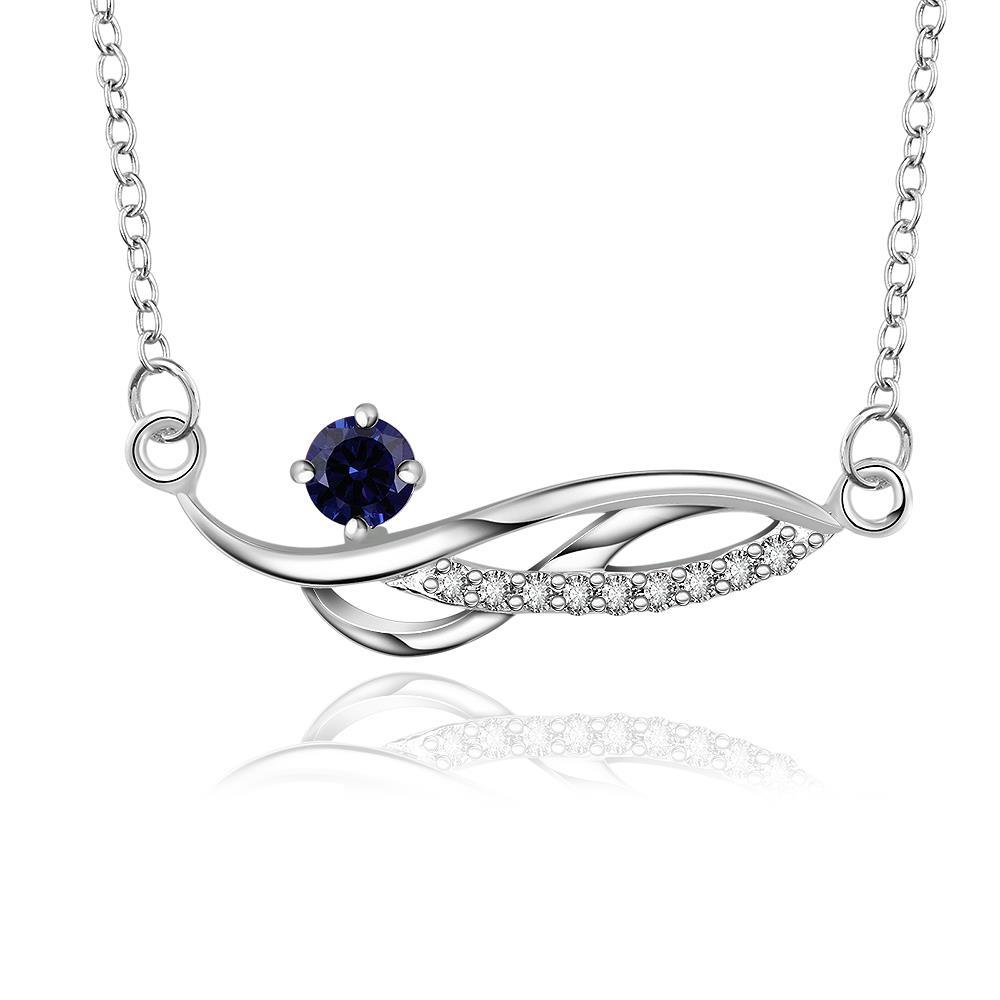 Vienna Jewelry Sterling Silver Curved Mock Sapphire Gem Necklace