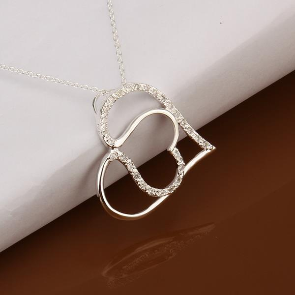 Vienna Jewelry Sterling Silver Duo Hear Shaped Emblem Necklace